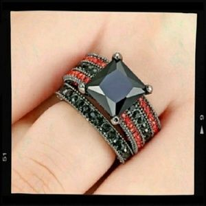 Black Red Wedding Ring Gothic Woman Size 6